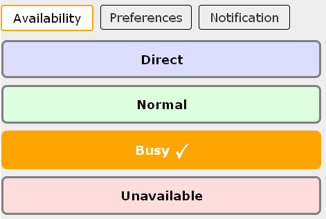 screenshot of busy availability