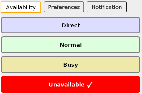 screenshot ofunavailable availability
