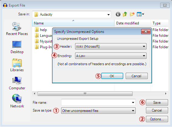 Audacity Export window