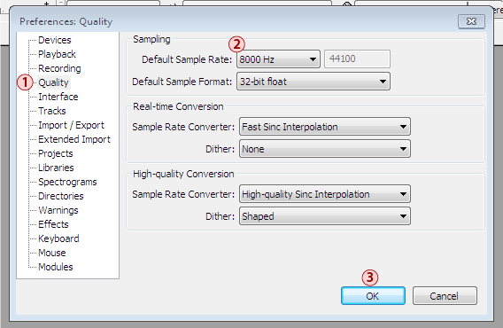 Audavity quality settings