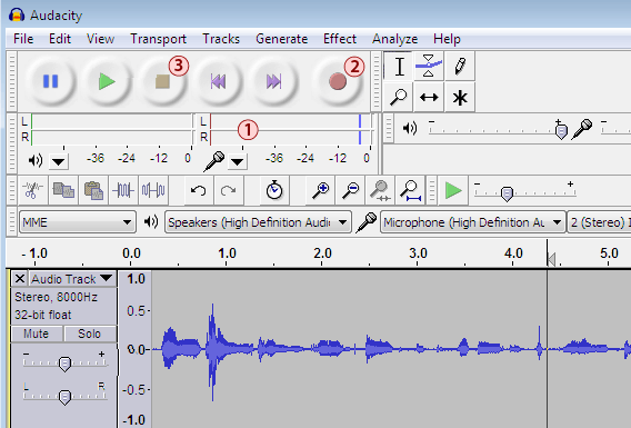 Audacity recording interface